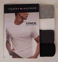 4 GENUINE TOMMY HILFIGER SIZE XXL COTTON WHITE BLACK GRAY CREW NECK T SH... - $38.90