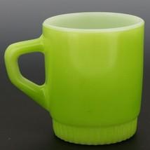 Fire-King D-Handle Ribbed Base Stacking Mug Lime Green image 2