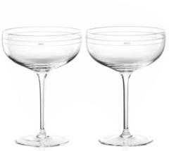 Kate Spade Darling Point Champagne Saucer SET/2 Wedding Etched Mr. & Mrs... - $69.90