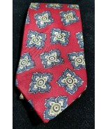 Vtg Liberty of London 100% Silk Red w/ Bold Square Medallion Power Tie N... - $7.76