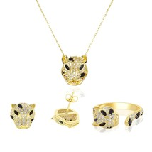 Gold color Jaguar earring ring necklace jewelry set for women white blac... - $27.41