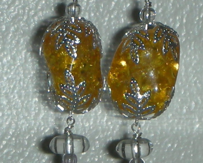 Gorgeous Genuine Baltic Amber and Topaz Drop Earrings