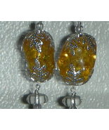 Gorgeous Genuine Baltic Amber and Topaz Drop Earrings - $27.99