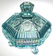 Fenton Iridescent BLUE Carnival Glass Hexagonal Footed Box - Lidded Trin... - $33.73