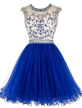Sexy Short Beading Prom Formal Dresses Tulle Homecoming Dresses Hollow Back 2018 - $144.00