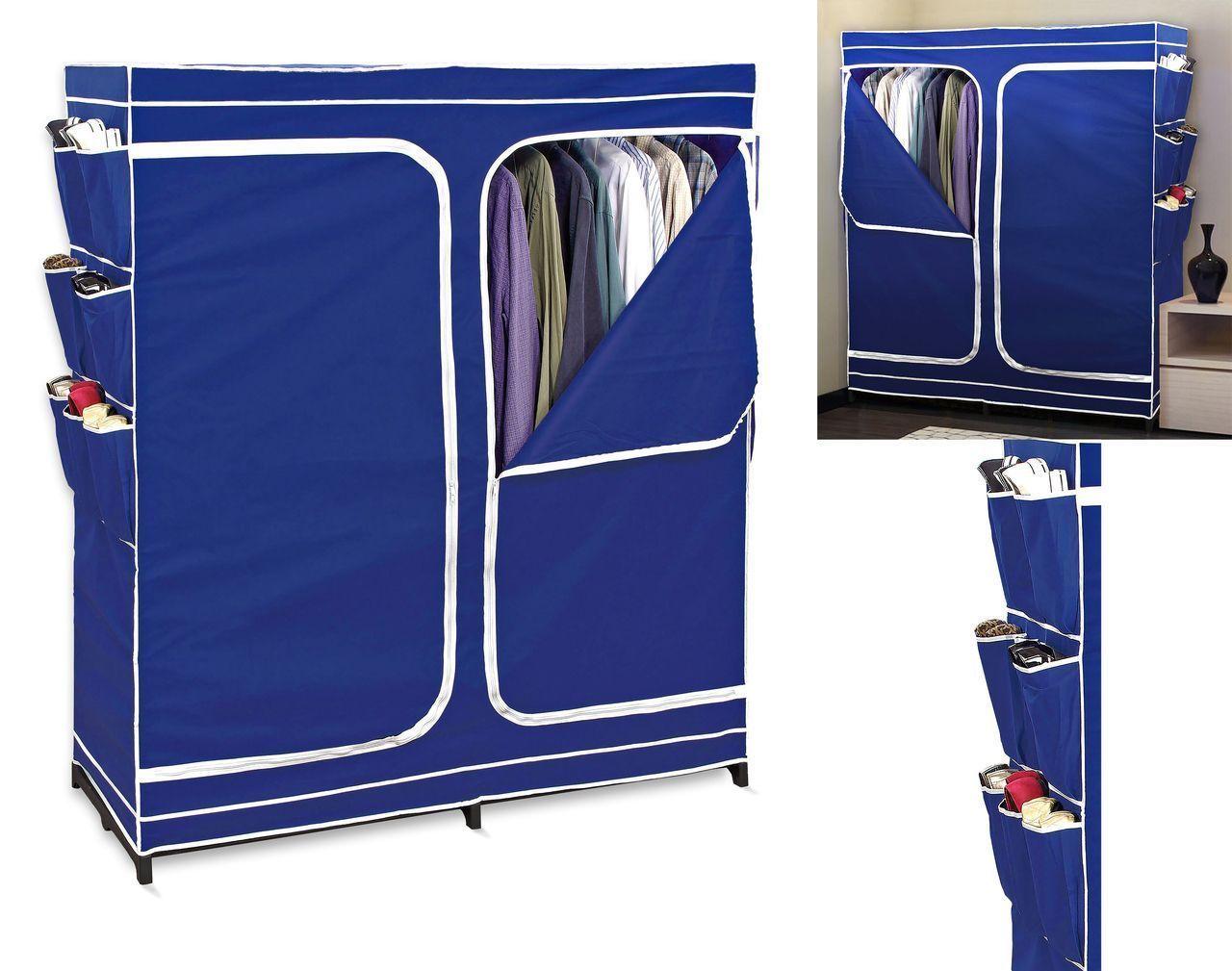 Double door closet season storage wardrobe organizer easy for Over wardrobe storage