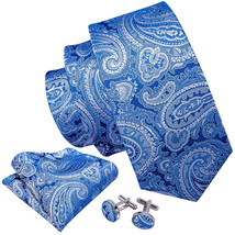 Royal Blue with White Paisley Necktie, Hanky, and Cufflinks - $19.99