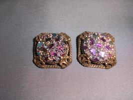 VTG 1965 Judy Lee Signed Gold Tone Square Irisea Stone Earrings Rainbow ... - $39.60