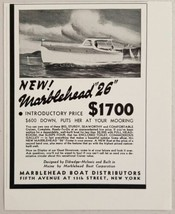 """1940 Print Ad Marblehead """"26"""" Cabin Cruiser Boats Built in Maine - $10.22"""