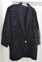 WANTED By BEADS Denim Coat Jacket Western Beads Lace Studs Black Oversiz... - $69.95