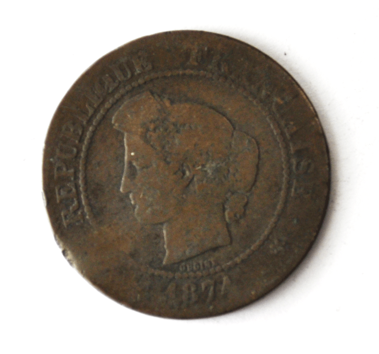 1874 A France 5 Five Centimes KM# 821.1 Bronze Coin