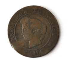 1874 A France 5 Five Centimes KM# 821.1 Bronze Coin  image 1