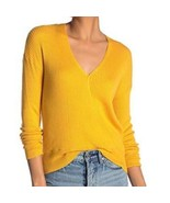 Elodie Ribbed Faux Wrap Lightweight Sweater ~ XL Marigold Extra Large N... - $24.95