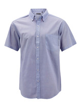 Men's Cotton Casual Short Sleeve Classic Collared Plaid Button Up Dress Shirt image 2