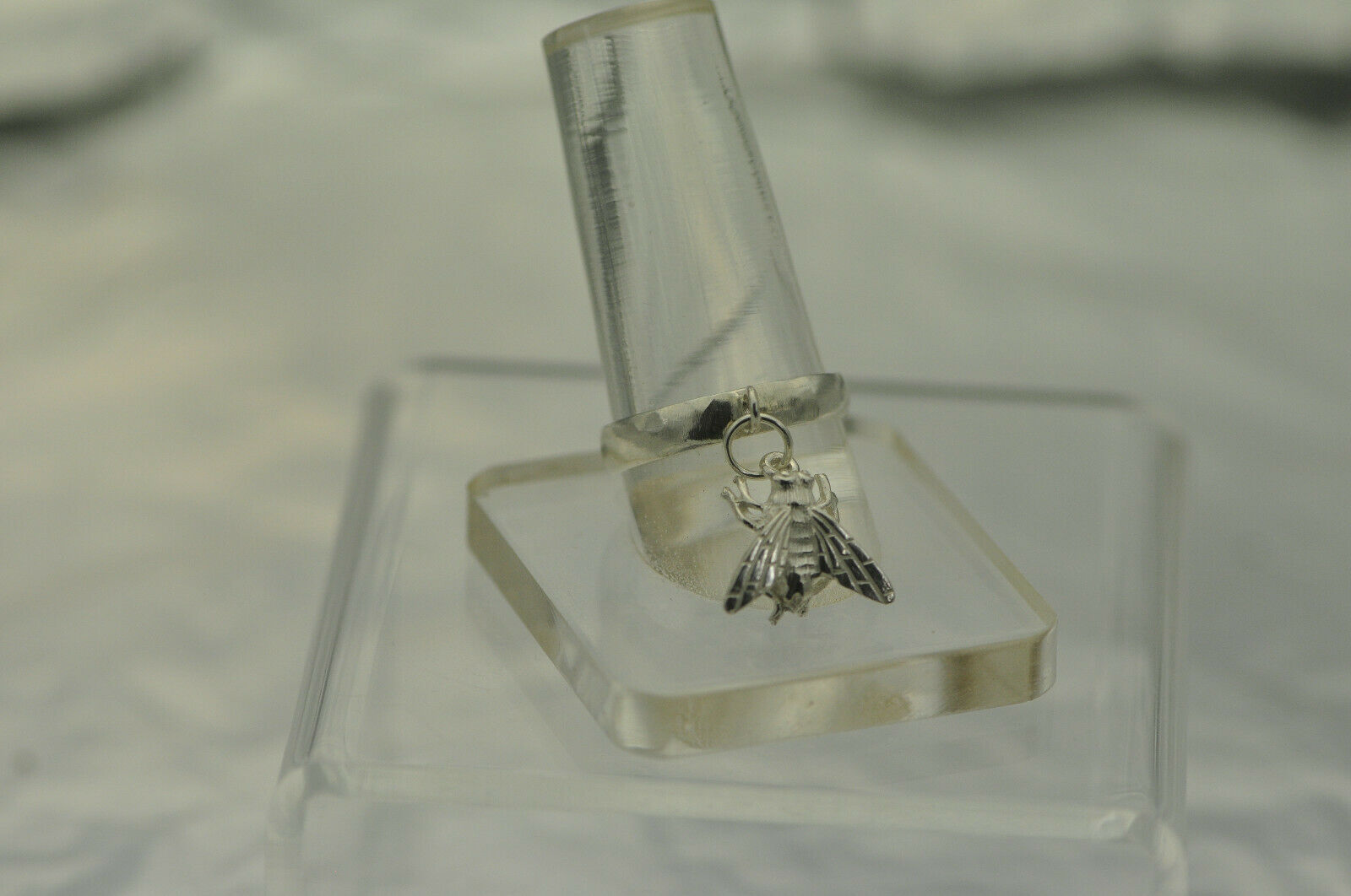 3D House fly wings bug sitting on your finger Sterling SILVER Insect Dangle Ring