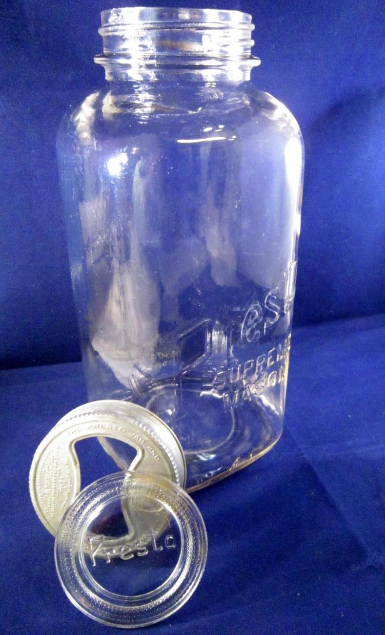 presto supreme mason 1931 square half gallon canning jar glass lid jars. Black Bedroom Furniture Sets. Home Design Ideas