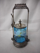 Antique Blue Glass Handpainted Victorian Pickle Castor with Tongs - $868.73