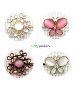 4 Pack Silver Pink White Butterfly Floral Swarovski Element Crystal Bobb... - $22.00