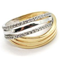 18K WHITE YELLOW GOLD BAND RING, CUBIC ZIRCONIA, BICOLOR BINARY, ONDULATE, WAVE image 3