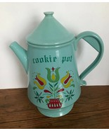 Vintage McCoy Cookie Pot Pennsylvania Dutch Tulip Design Blue With Lid USA - $45.82