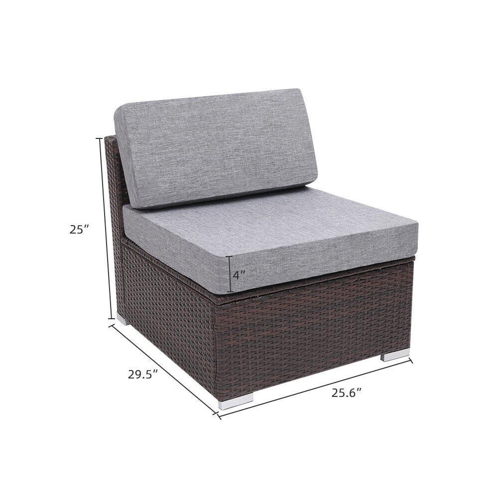 7 Pieces Patio PE Wicker Rattan Corner Sofa Set image 6