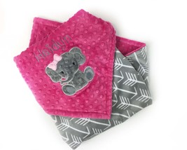 Personalized Minky Blanket, Fuchsia and Grey, Arrow Minky Blanket, Eleph... - $52.00