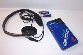 Vintage SONY WALKMAN Blue FM Stereo SRF-20W with Belt Clip + MDR-210 Hea... - $42.42 CAD