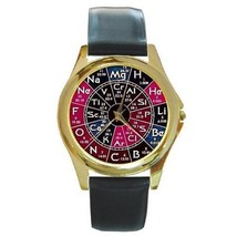 PERIODIC TABLE CHEMISTRY SCIENCE GOLD TONE WATCH UNIQUE - $25.99