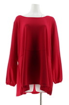 Isaac Mizrahi Pebble Knit Bishop Slv Peplum Top Imperial Red 3X NEW A311369 - $27.70