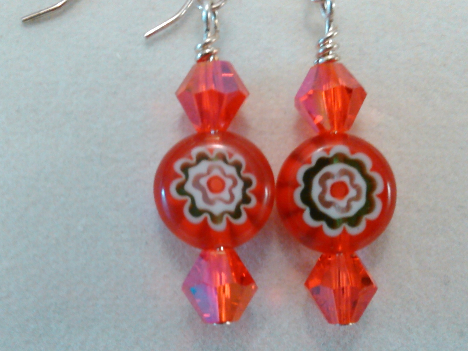 Red Crystal and Floral bead on Sterling Earrings Handmade by Deboriah