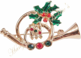 Christmas Horn Pin Brooch Red Green Crystal Hollyberry Goldtone Metal Ho... - $16.99
