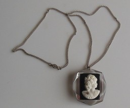 Vintage Sterling Black & White Glass Cameo Pendant Necklace - $34.65