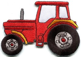Tractor crawler plow farm truck red embroidered applique iron-on patch S... - £2.24 GBP