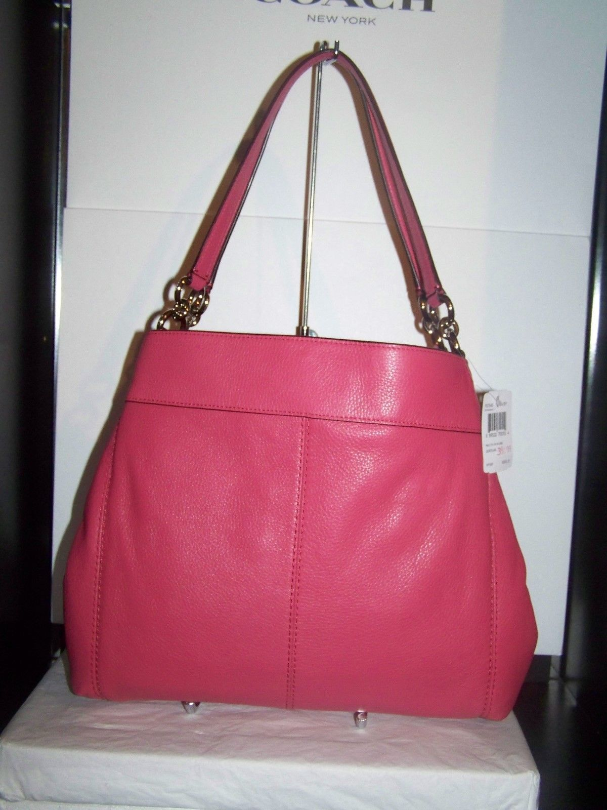 Coach Pebbled Leather Lexy Tote Shoulder Bag F57545 Strawberry Pink $395 NWT