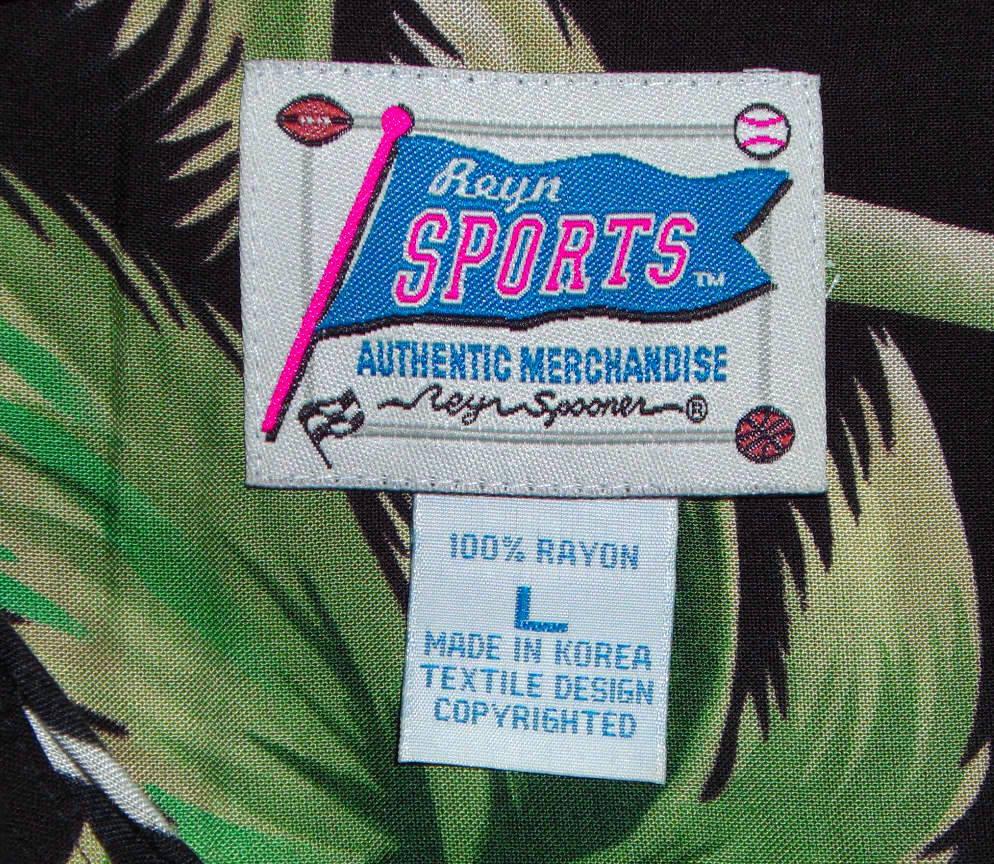 Reyn Spooner Sports Hawaiian Shirt Black Green Palm Trees Hawaii Size Large