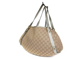 Authentic GUCCI GG Pattern Canvas Leather Browns Shoulder Bag GS17303L - $219.00