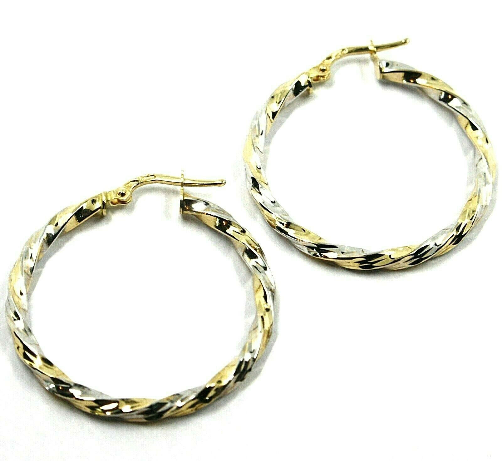 18K YELLOW WHITE GOLD CIRCLE HOOPS PENDANT EARRINGS, 3 cm x 3mm TWISTED, BRAIDED
