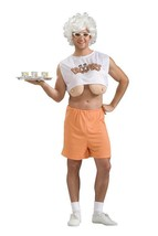 Hooters Waitress Mens Stag Novelty Fancy Dress Costume Fake Boobs - $30.81