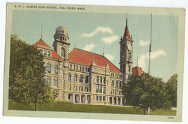 Fall River MA B.M.C. Durfee High School Linen Vintage Postcard - $6.95