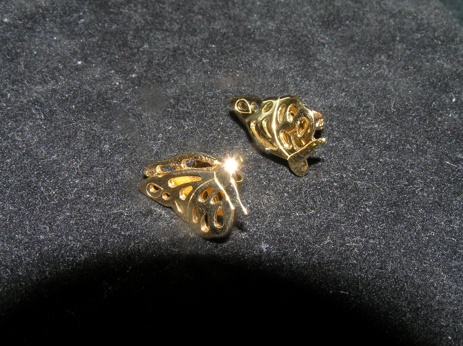 Primary image for Vintage Dainty Folded Goldtone BUTTERFLY Post Earrings for Pierced Ears –