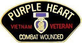 PURPLE HEART VIETNAM WAR VETERAN COMBAT WOUNDED PIN - $13.53