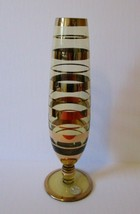 Retro Mod Borske Sklo Style Gold Banded Amber YELLOW GLASS Vase Partial ... - $24.70