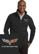 Corvette Black Embroidered Port Authority Core Soft Shell Unisex Jacket NEW - $39.99