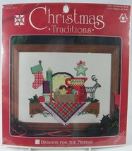"Christmas Traditions Shelf Cross Stitch Kit 1962  9 x 12"" Designs for th... - $14.50"
