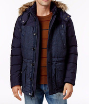 NEW MENS TOMMY HILFIGER FLETCHER HOODED DOWN-FEATHER BLUE PARKA JACKET 2... - $178.19