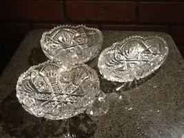 1914 Imperial Glass Nucut Cut Glass Bowls - Set of 3 - Antique - $29.85