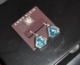 Anne Klein Sapphire Rhinestone & Silvertone Earrings Nwt - $7.85