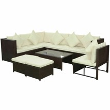 vidaXL Garden Sofa Set 29 Pieces Wicker Poly Rattan Brown Outdoor Furniture - $567.99