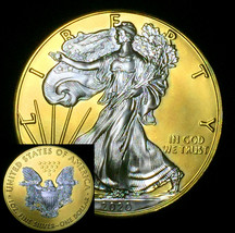 2020 ASE American Silver Eagle with 24K Gold + collectors capsule 1 ounc... - $83.22