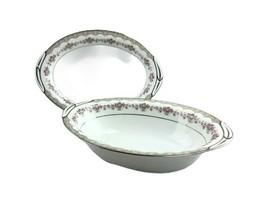 2 Pcs Noritake Glenwood Vegetable Bowls Handles Platinum Trim 5770 10.25... - $38.60